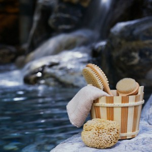 Wooden Basket of Bathing Supplies at Hot Spring